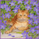 Ginger Cat in Geraniums/Limited edition print